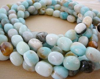 Amazonite Gemstone Beads, Nugget, half strand, Pale Powder Blue