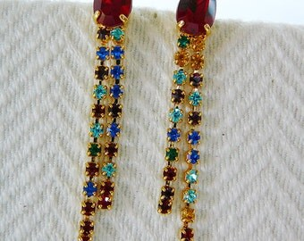 Vintage .. Rhinestone Earrings, Czech, Red, Dangle, pierced, vintage bride, wedding
