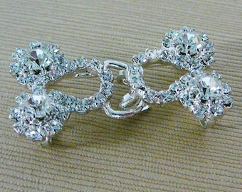 Vintage ..Rhinestone Buckle, 2 Part, Link, Silver Tone, Clear Ice, Wedding, Bridal