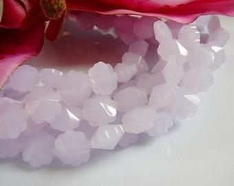 Glass Flower Beads, Soft Lavender 10mm