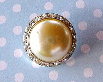 Vintage .. Button, Pearl, Czech Rhinestones, Clear, Silvertone, Embellishment