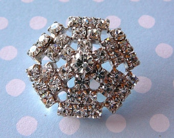 Vintage .. Button, Starburst Rhinestone Silvertone, Czech Crystal bride wedding bridal party