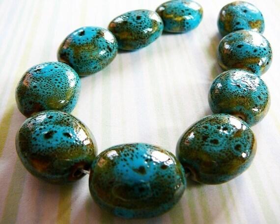 Oval Bead, Ceramic, 20x17  Turquoise Tortoise