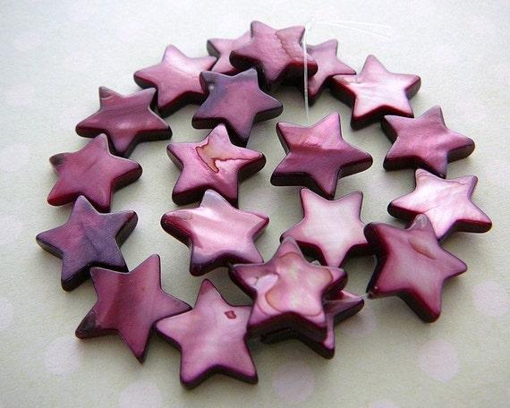 Star Beads Lilac Purple Shell 12mm