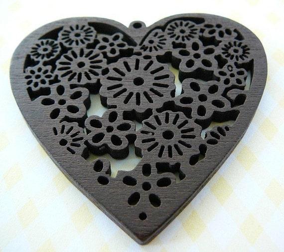 Wood Heart Pendant Dark Brown Scrolled ..