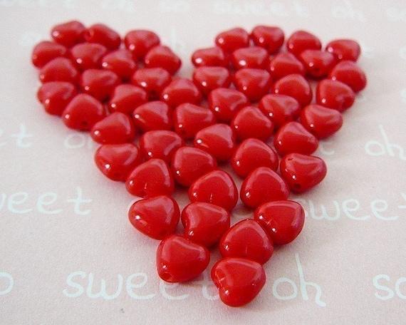 Mini Heart Beads, Czech Glass, Candy Apple Red