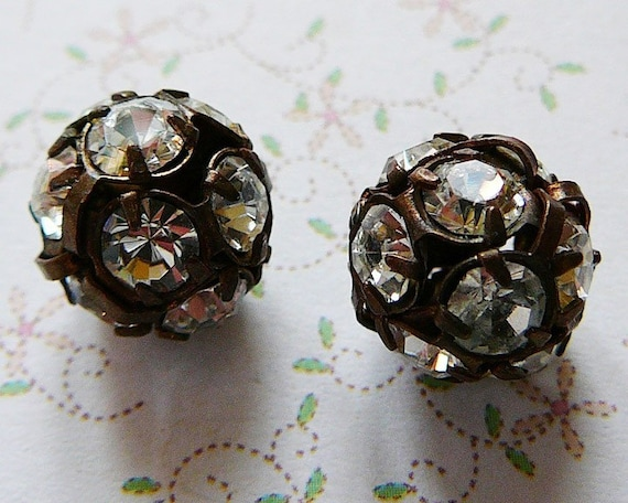 RESERVED LISTING ..Disco Ball Bead, 12mm Czech Rhinestone, Clear, Antique Copper Frame