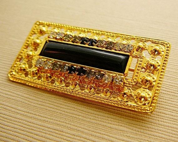 Vintage .. Czech Brooch, Clear and Black Rhinestone Goldtone Rectangular Brooch