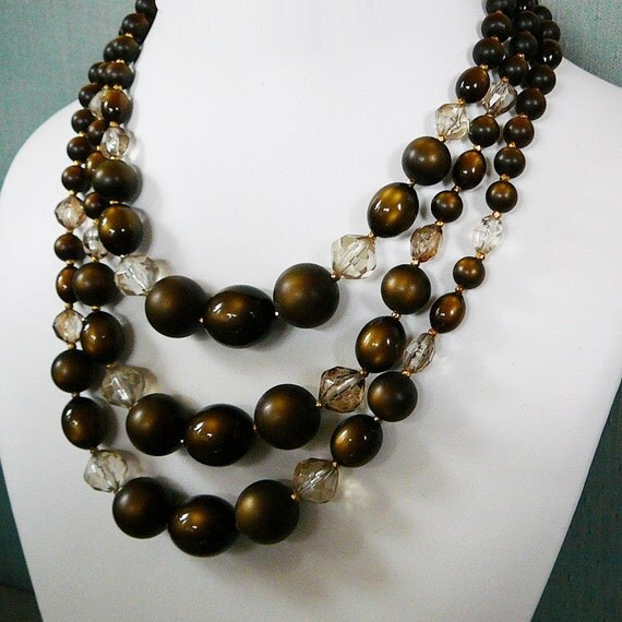 Vintage .. Bead Necklace, 3 Strand Brown Bronze Resin Graduated Beads, Earring Set