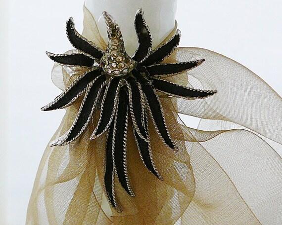 Vintage .. Brooch, Rhinestone Black Enamel Iris Pin