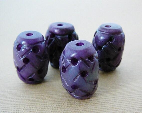 Gemstone Bead, Jade Purple Lantern
