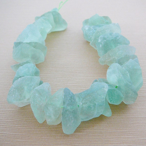Flourite Gemstone Beads, Huge Nugget Chips, Organic, Pale Sea Green, Matte, half strand