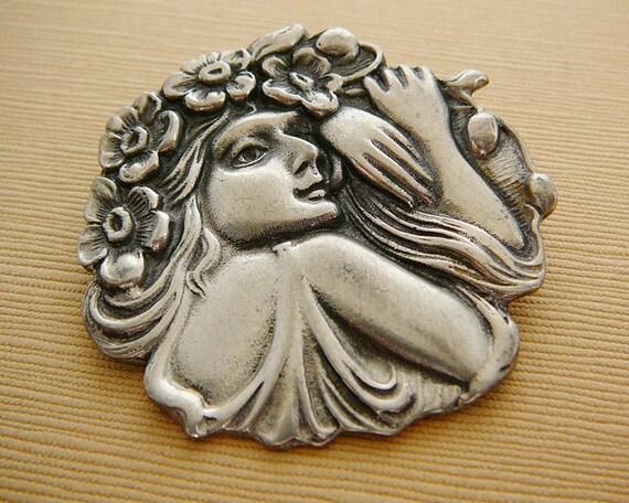 Vintage .. Pewter Brooch, Lady, Silver Tone,  Flowing Hair, Flowers, 1990