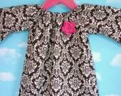 Girls Fall Tunic Dress.....Brown Damask with Pink Crochet Flower.....illia designs KIDS