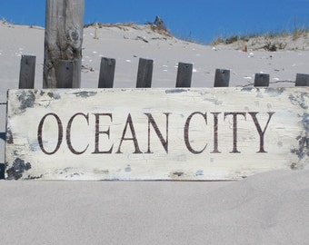 OCEAN City NJ, MD, rustic beach house shabby wood hand painted sign, Jersey shore