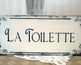 La Toilette bath sign, wooden vintage styled shabby rustic powder room sign