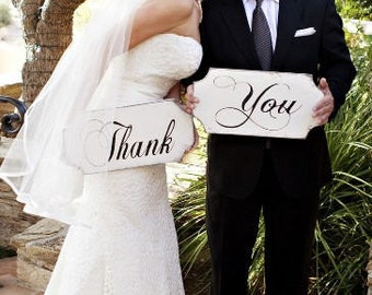 Bridal Thank You card signs, rustic wedding signs, wooden wedding signs,shabby wedding sign set, wedding photo op signs