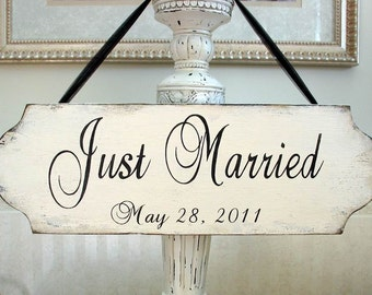 JUST MARRIED rustic wooden Wedding sign with date, wedding handmade wooden shabby cottage chic