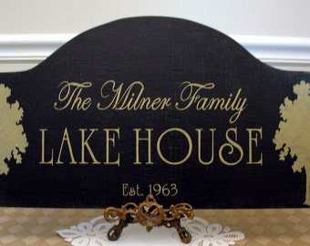LAKE or BEACH House sign personalized rustic cottage chic with trees, rustic cottage sign, custom cabin sign, cabin decor