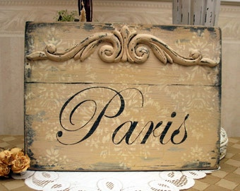 Shabby Paris Apartment sign, French cottage style, French country sign, French country decor, rustic Paris damask sign, Paris wooden sign