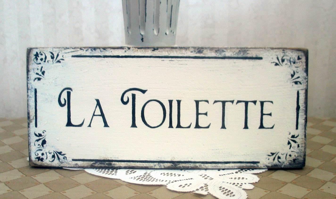 la toilette bath sign wooden vintage styled shabby rustic. Black Bedroom Furniture Sets. Home Design Ideas