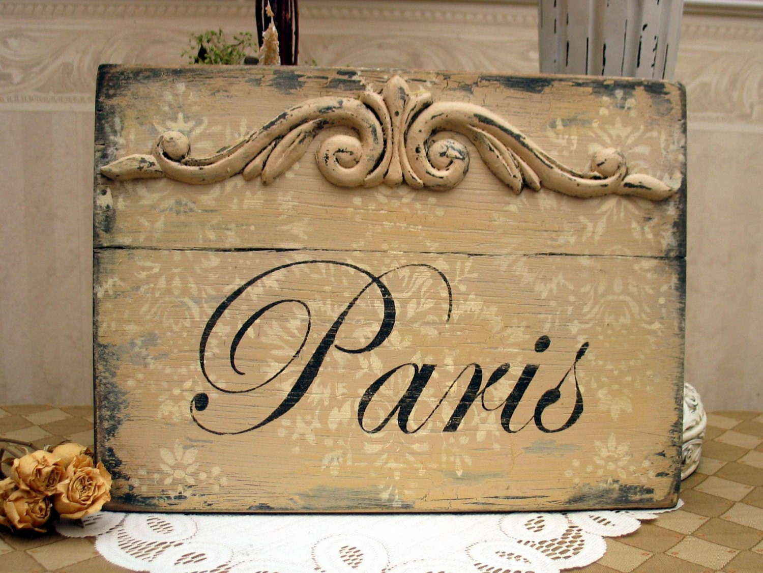 Shabby paris apartment sign french cottage style french - Il cottage paris ...