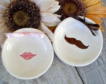 Ceramic Ring Bowl Set, His and Hers Ring Dishes, Mustache, Lips, Wedding Ring Holder, Ring Holder, Wedding Gift, Gift for Couple