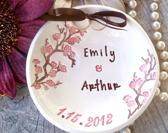 Cherry Blossom Ring Bearer Bowl, Personalized & Dated Ceramic Ring Pillow,  Pillow Alternative, Ring Warming Ceremony, Wedding Ceremony