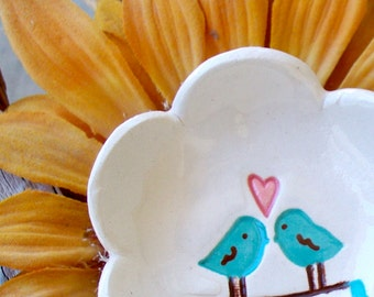 Love Birds Ring Bowl  -Flower Shaped,  Flower Petal Ceramic Ring Dish - Ring Bowl - Trinket Dish - Gift Dish - Flower Dish
