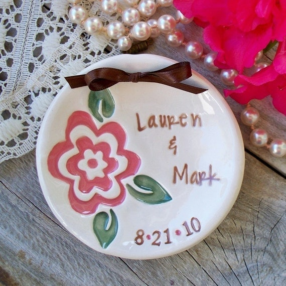 Custom Floral Ring Bearer Keepsake Bowl - Bold Pink