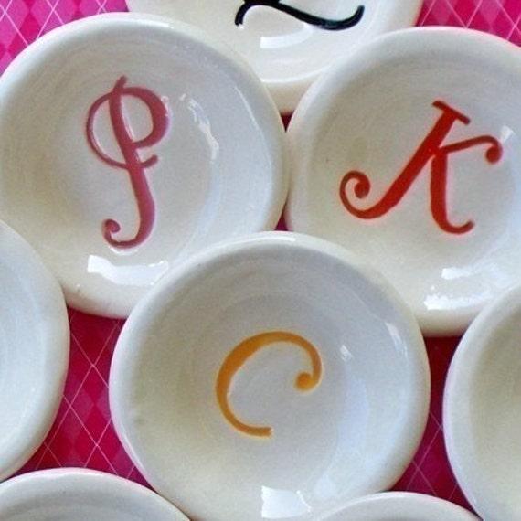 Mini Bowl Set of Two  Monogram Ceramic Bowls Personalized