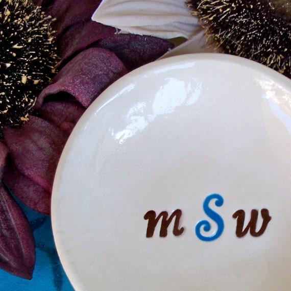 Monogrammed Ring Dish - Three Letter Monogram Ceramic Bowl, Personalized Trinket Dish, Monogrammed Gift Dish