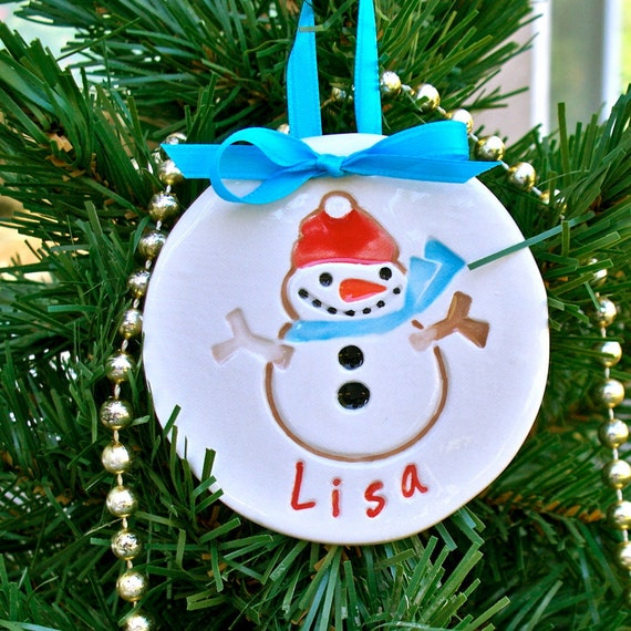 Snowman Christmas Ornament Pesonalized Ceramic Dated 2011