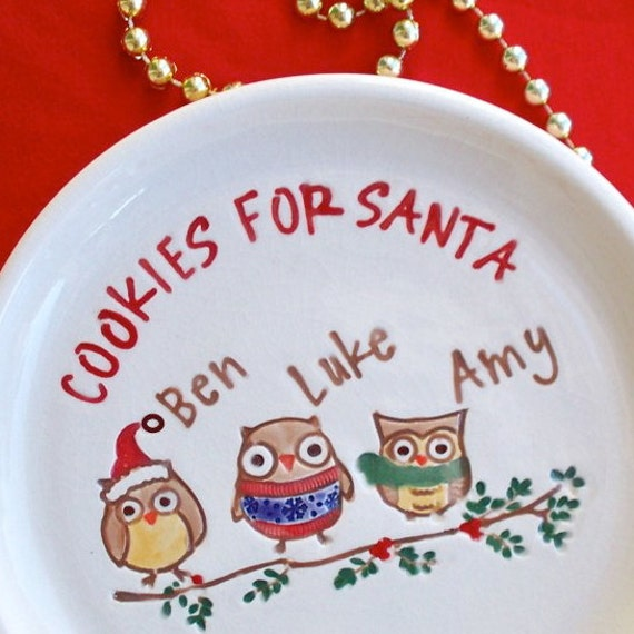 Cookies for Santa Personalized Plate - Adorable Owls Cookie Plate Christmas 2011