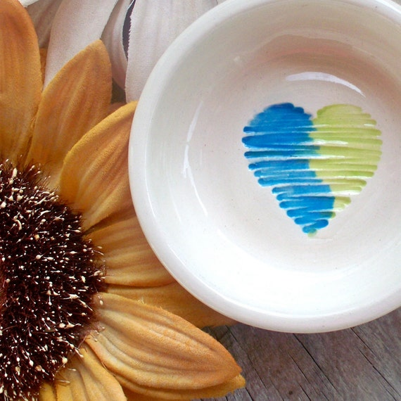 SALE - Two Tone Heart Bowl - Ring & Trinket Bowl
