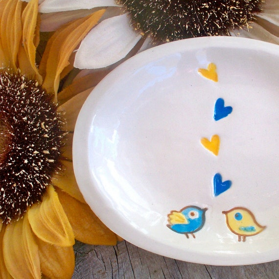 Oval Love Bird Dish - Ceramic Soap or Trinket Dish