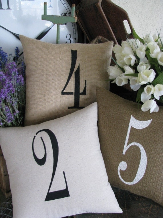 Large Single Number pillow