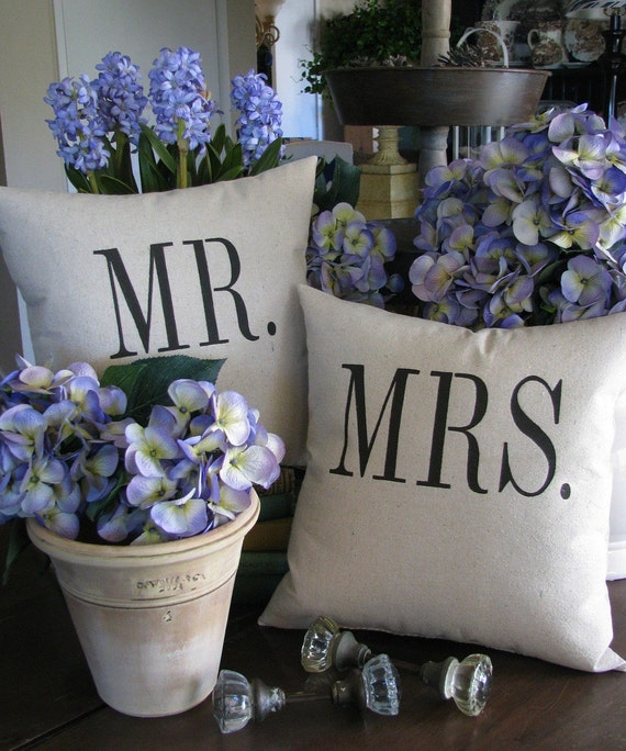 Mr. & Mrs. pillows /pair.....as seen in the Washington Post