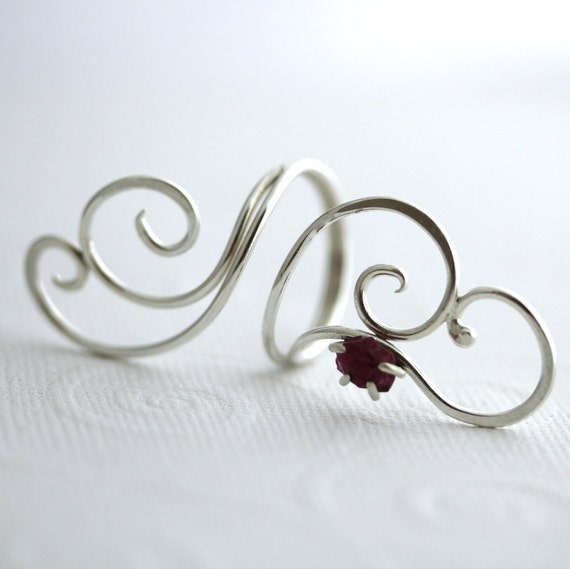Sterling Silver Ruby Ring by JoJoBell on Etsy