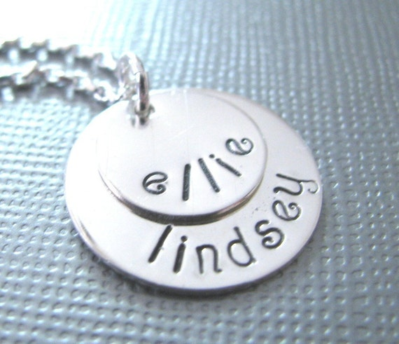 Two Layered Discs - Sterling Silver Necklace - Personalized Hand Stamped