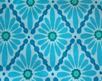 Fabric - Victoria Wells for Free Spirit Aqua Blue with Green Diamond Floral