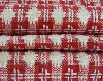 Mid Weight Fabric - Woven Cream and  Red Rust Double Star