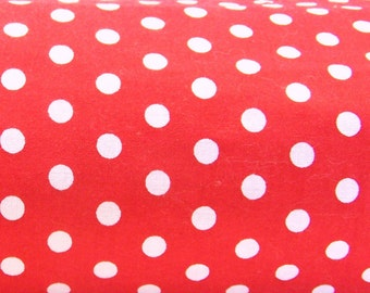 Cotton Fabric - Red with White Polka Dots