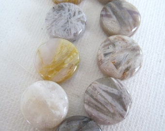 Crazy Lace Agate, Coin Shaped, Full Strand
