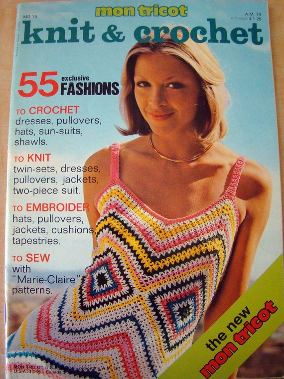Knitting Crochet Magazine : MON TRICOT Knit and Crochet Magazine fom 1974 by bontonvintage