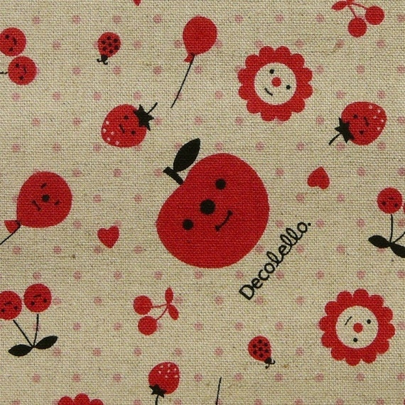 Decole - All in Red - Sand Colored Japanese Cotton and Hemp Fabric 1/2 Yard