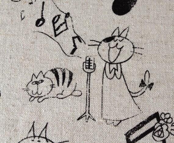 Musical Cat - Linen Fabric - 1/2 Yard