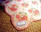 Vintage Nylon Hankie with Pink and White Dogwood Flowers