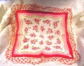 Vintage Irish Linen Hankie with Crocheted Lace Trim