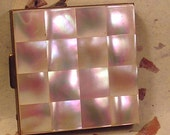 Vintage Compact Checker Board Pattern Faux Mother of Pearl